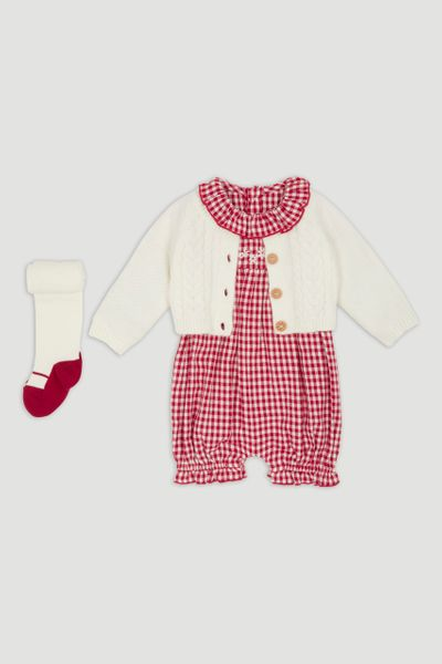 Red Check Romper Set