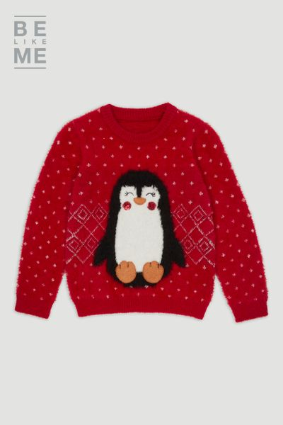 Family Of Red Christmas Penguin Jumper