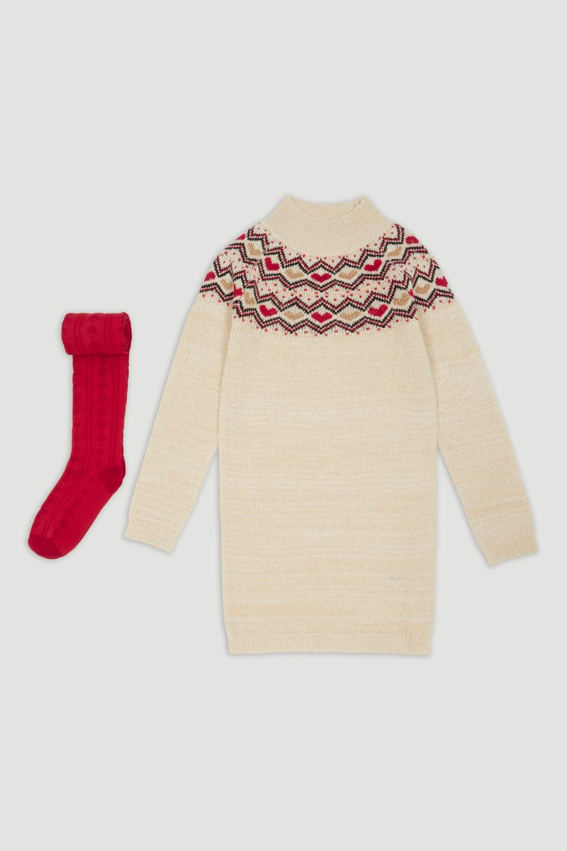 Fairisle Knitted Dress & Cable Tights