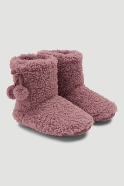 Pink Slipper Boots with Pom Poms