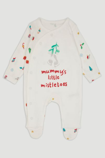 Mummy's Mistletoes Slogan Sleepsuit