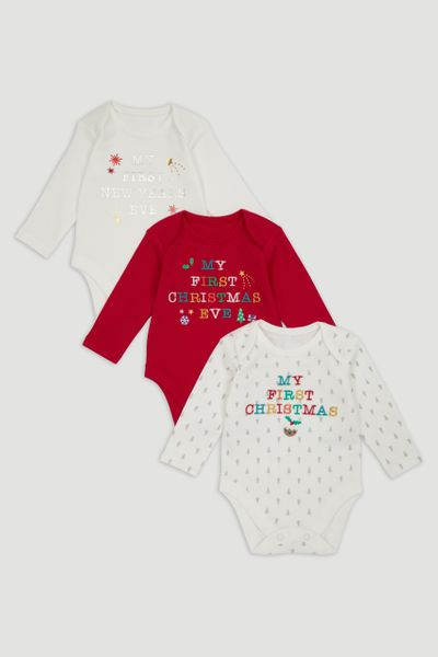 3 Pack My First Christmas Bodysuits