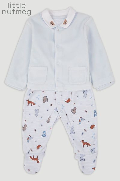 Little Nutmeg Blue Sleepsuit & Jacket
