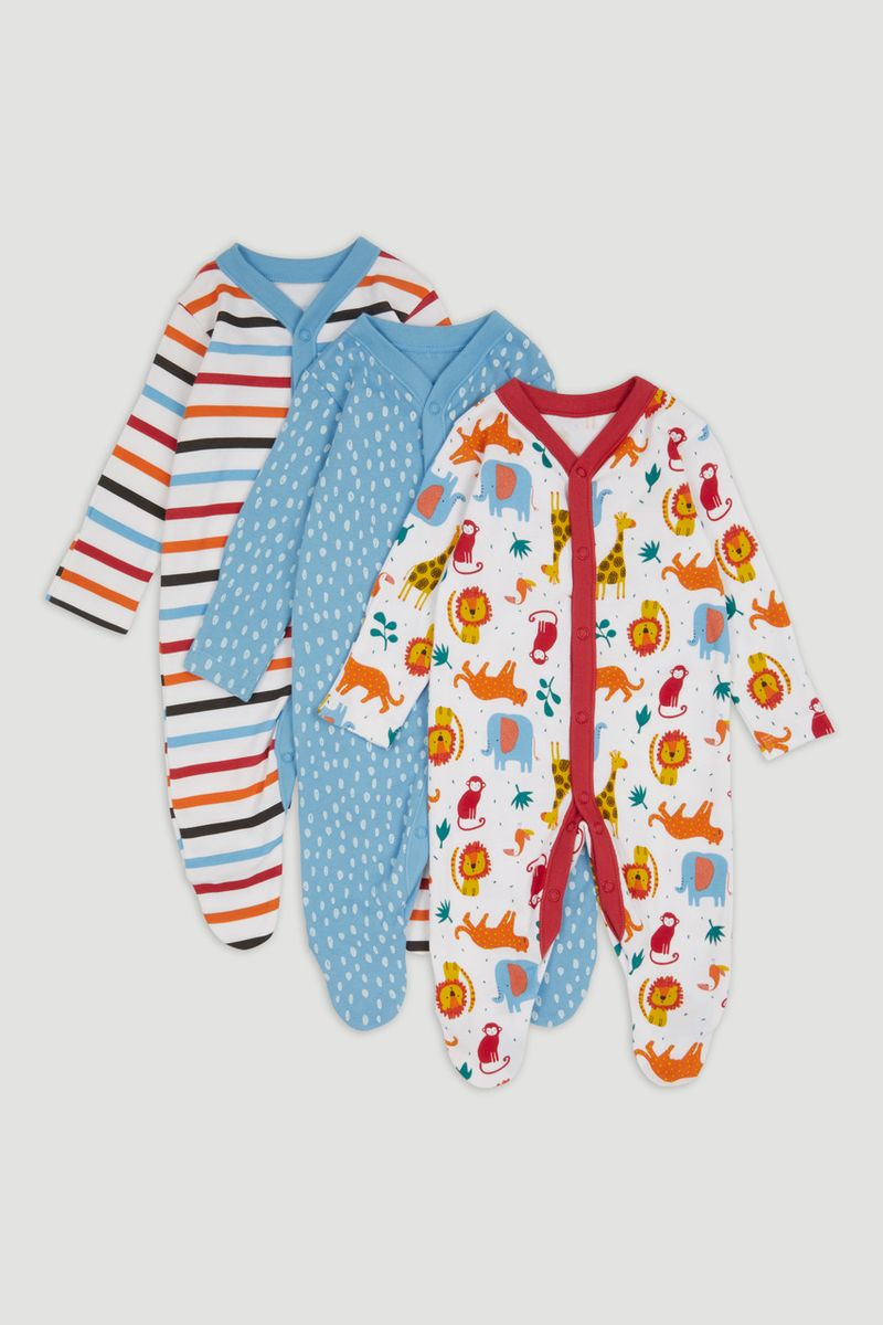 3 Pack Bright Animal sleepsuits