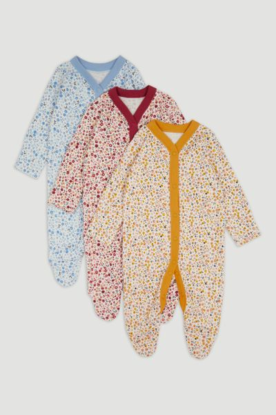 3 Pack Flower sleepsuits