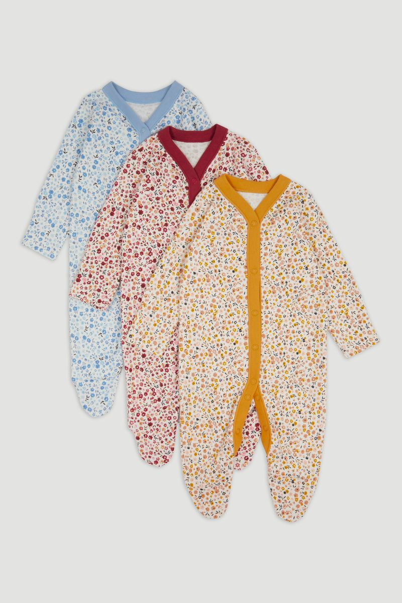 3 Pack Flower sleepsuits