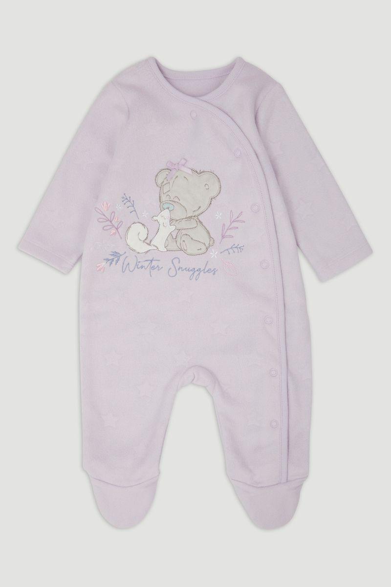 Tiny Tatty Bear Lilac Fleece Onesie