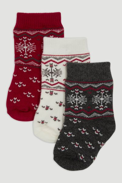 3 Pack Red Fairisle Socks