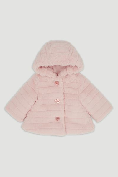 Pink Hooded Faux Fur coat