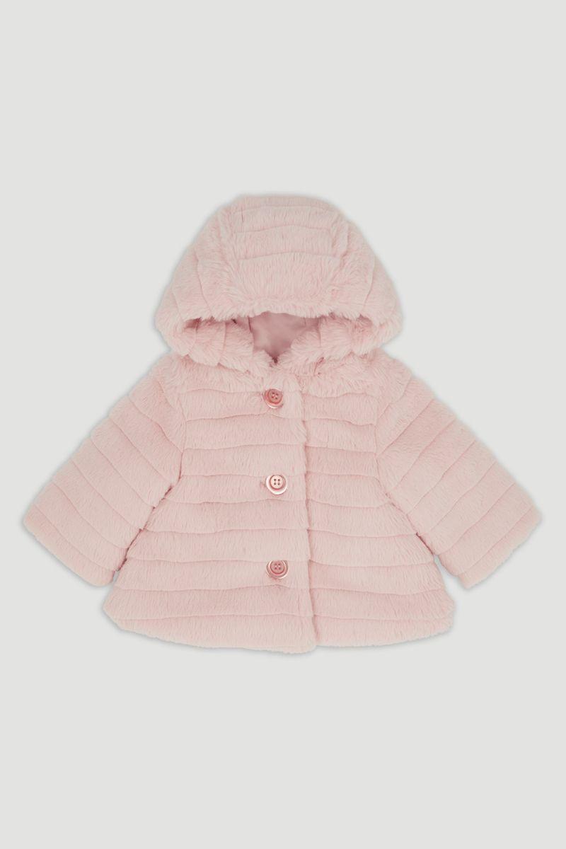 Pink Hooded Faux Fur coat
