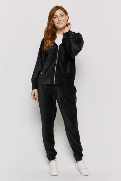Velour Co-ord Black Joggers