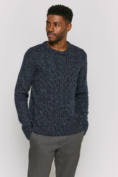 Navy Fleck Cable Knit jumper