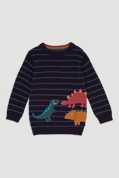 Navy Stripe DIno Jumper