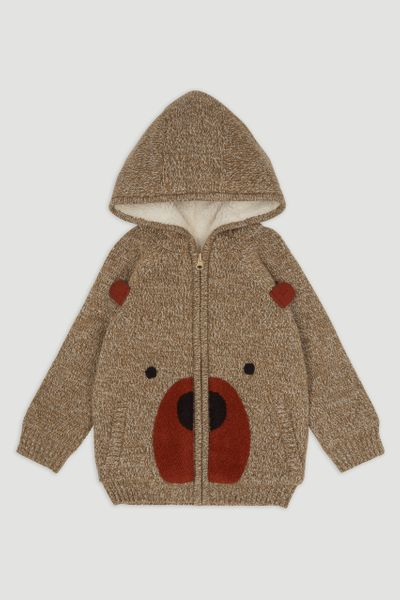 Bear Boucle Knit Hoodie