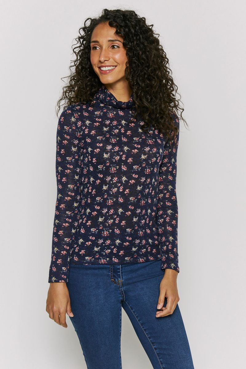 Floral Turtle Neck Top