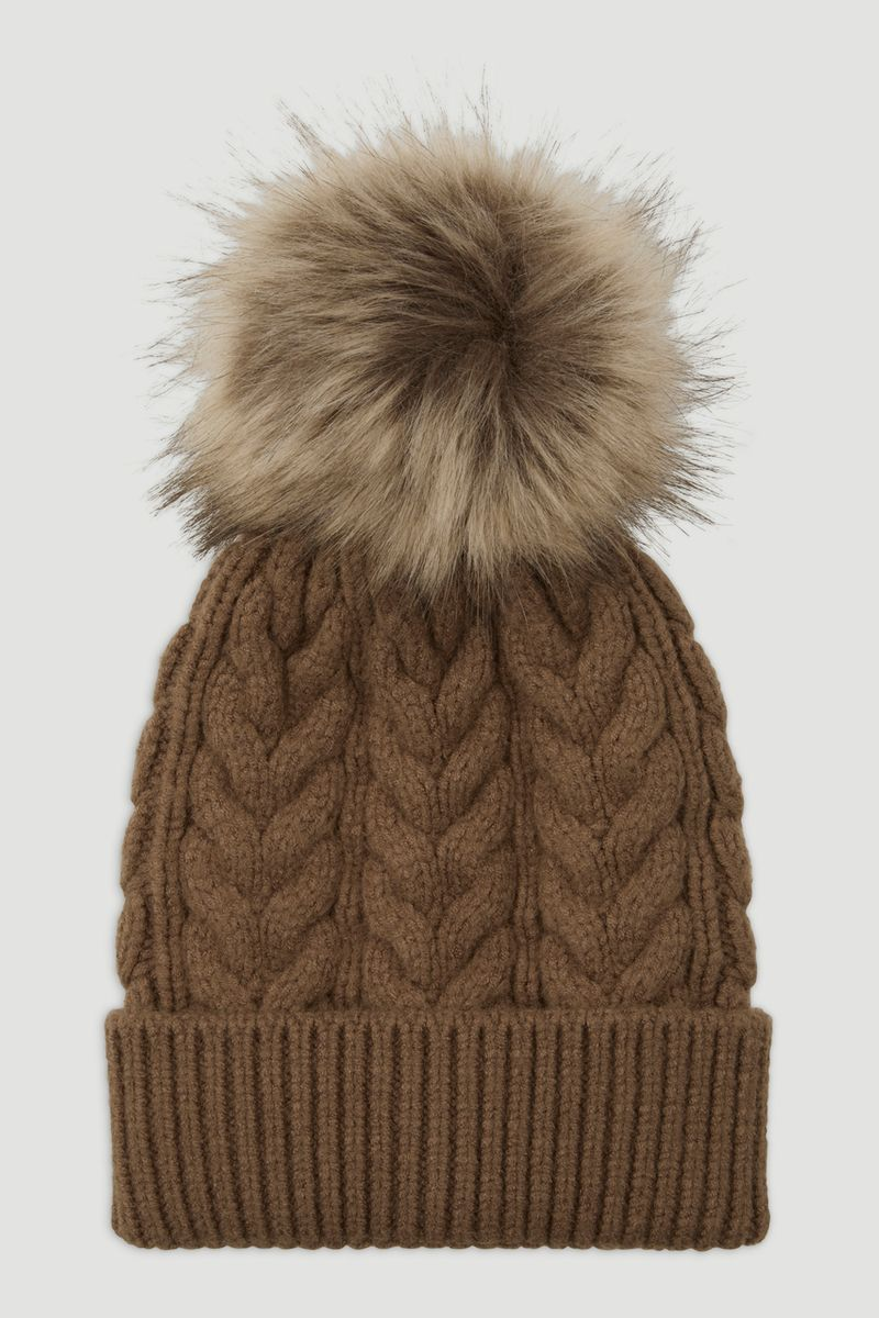 Cable Knit Brown Beanie Hat