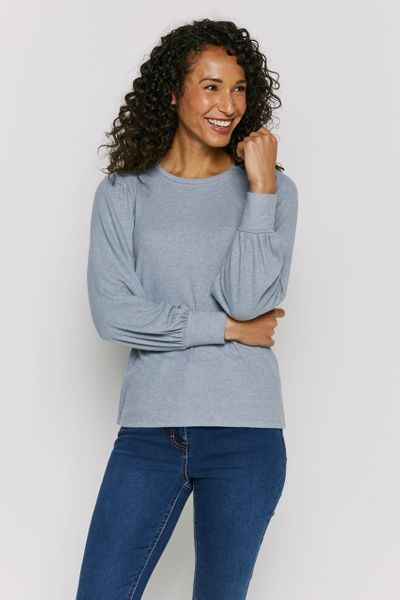 Cuffed Sleeve Blue Top