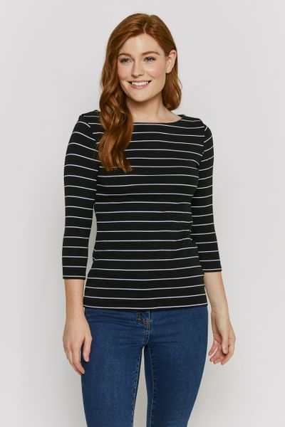 Black Stripe Bardot Top