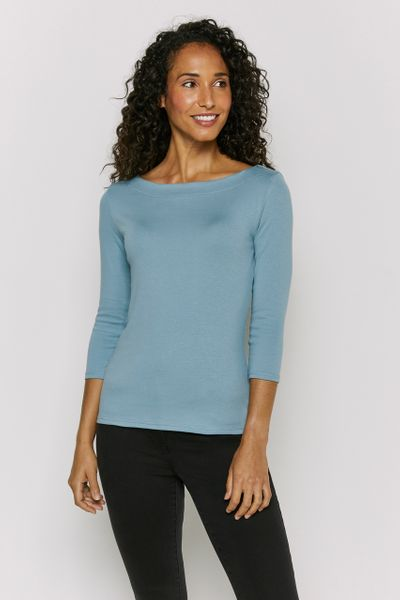 Blue 3/4 Sleeve Bardot Top