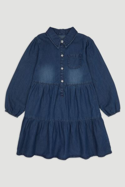 Denim Shirt Tiered Dress