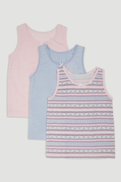 3 Pack Pink Fairisle Vests