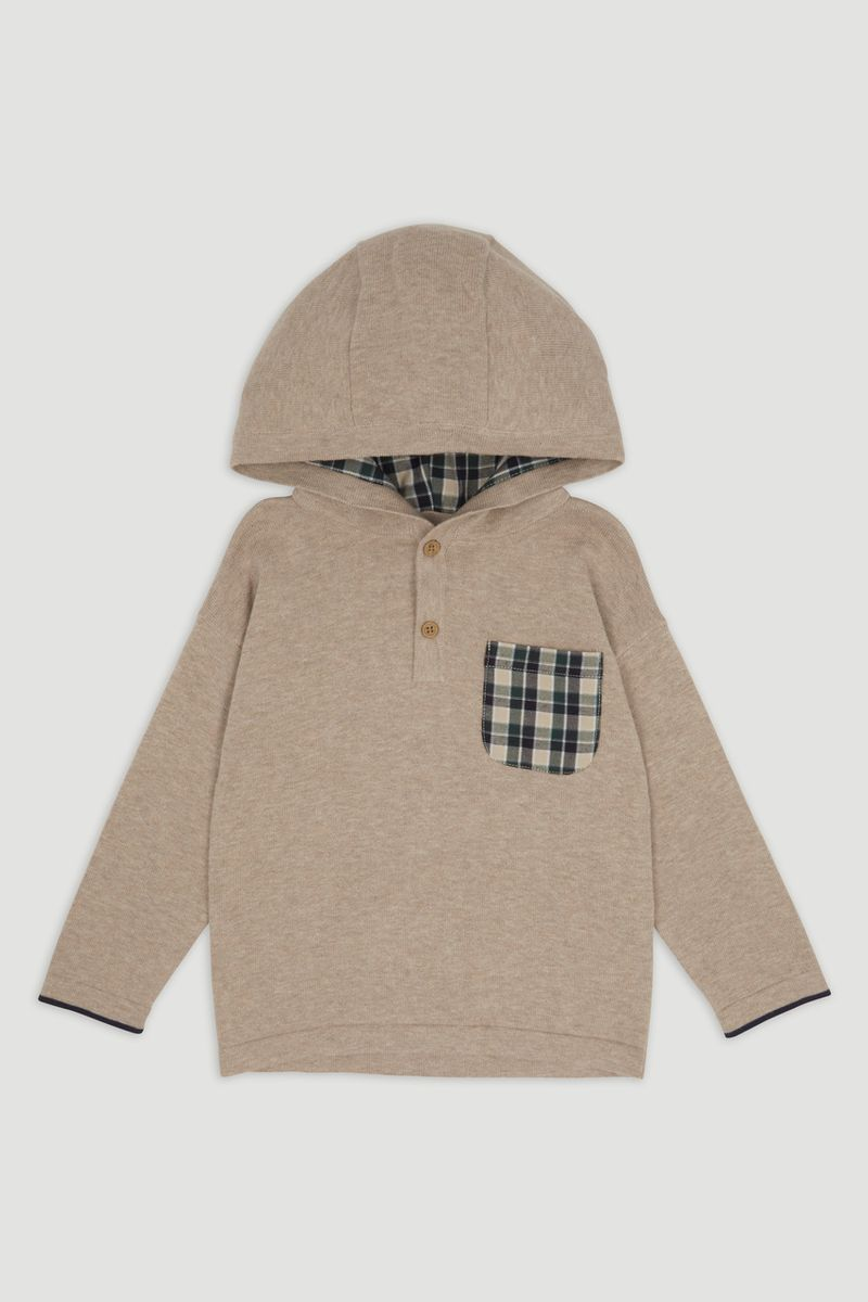 Check Knit hoodie