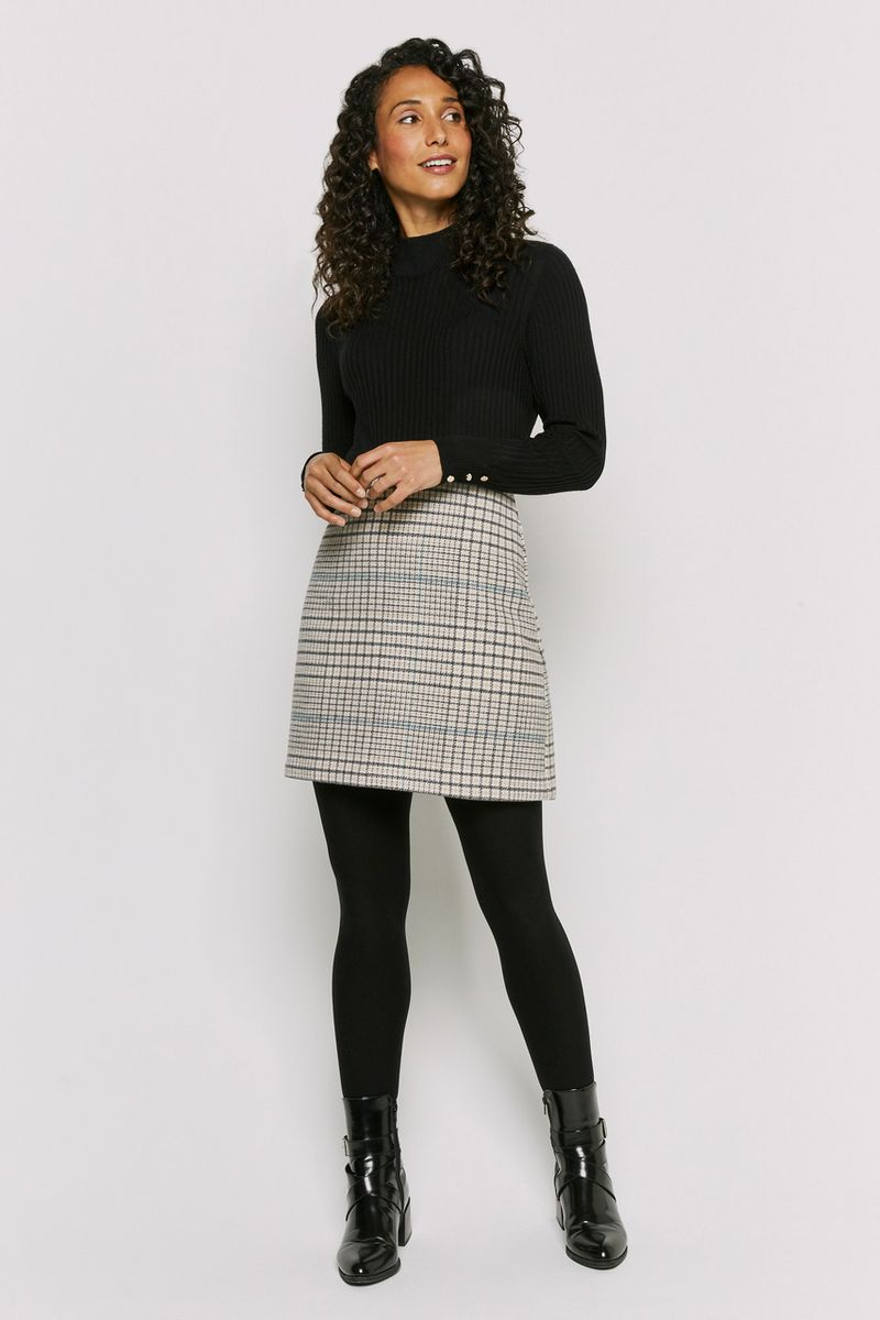 Pastel Check Brushed Skirt