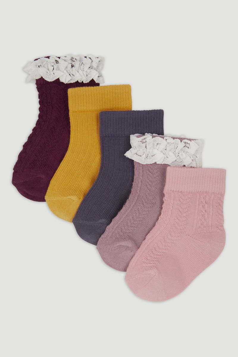 5 Pack Frilly Purple Socks