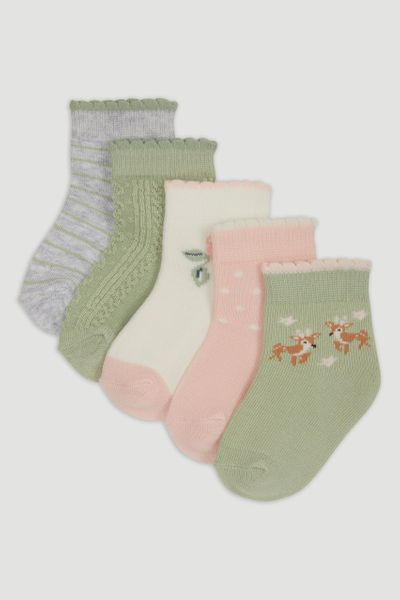 5 Pack Sage Woodland Socks