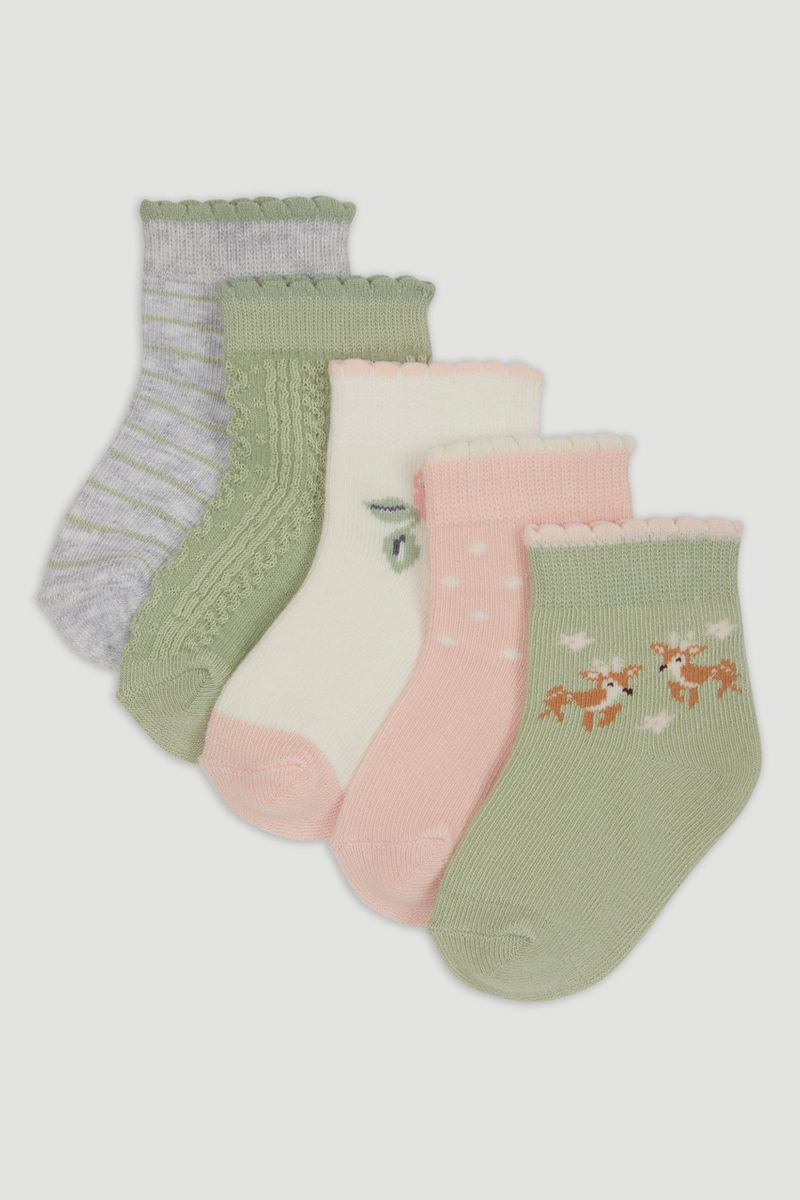 5 Pack Sage Woodland Socks
