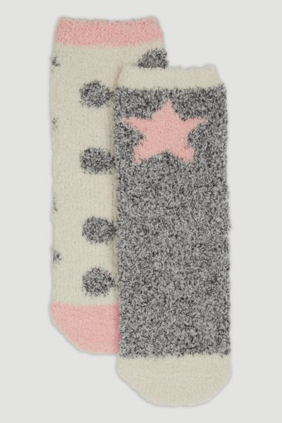 2 Pack Pink Star Cosy Socks