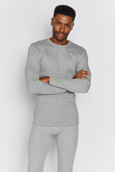 Mens Grey Marl Thermal Top