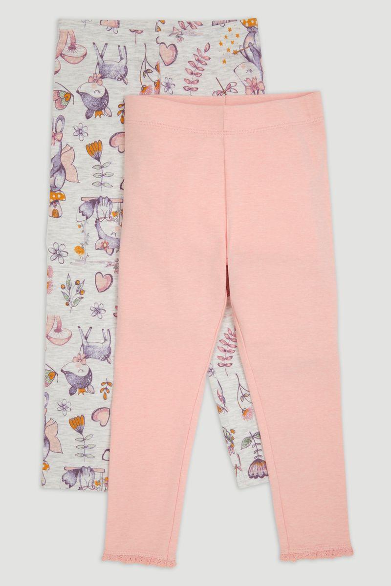 2 Pack Pink Marl & Flower Leggings