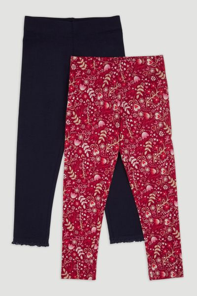 2 Pack Red Flower Leggings