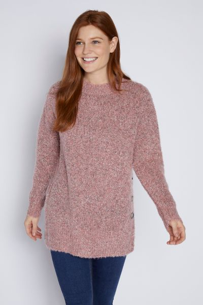 Pink Boucle Button Jumper