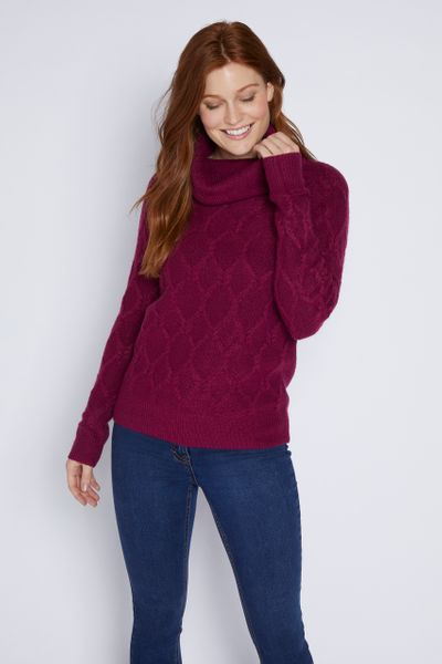 Berry Cable Knit Roll Neck Jumper