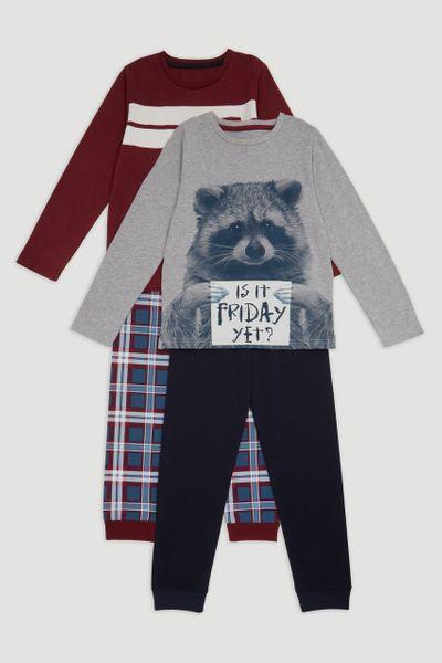 2 Pack Racoon Pyjamas