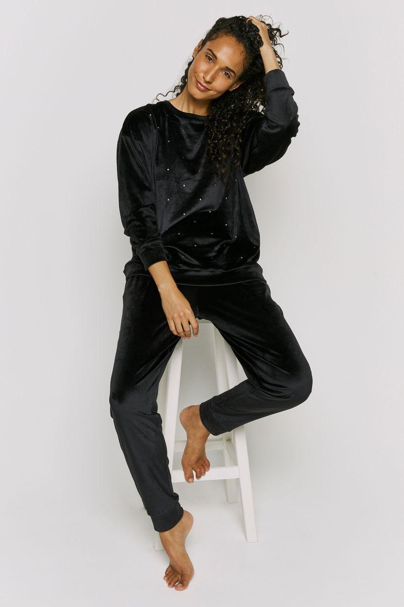 Velour Black Star Loungewear Set