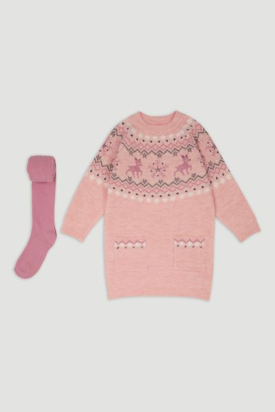 Fairisle Knitted Dress & Tights