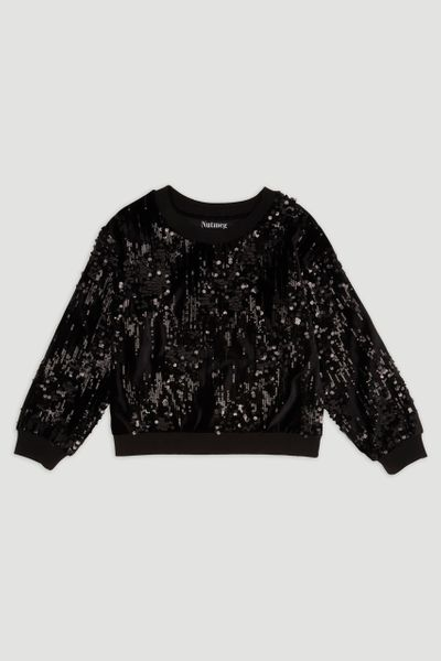 Black Velour Sequin Sweatshirt