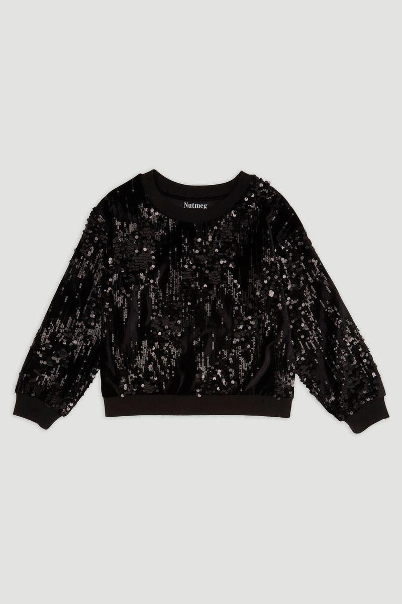 Black Velour Sequin Sweatshirt