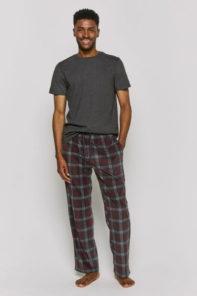 Grey Check Fleece Pyjama Bottoms