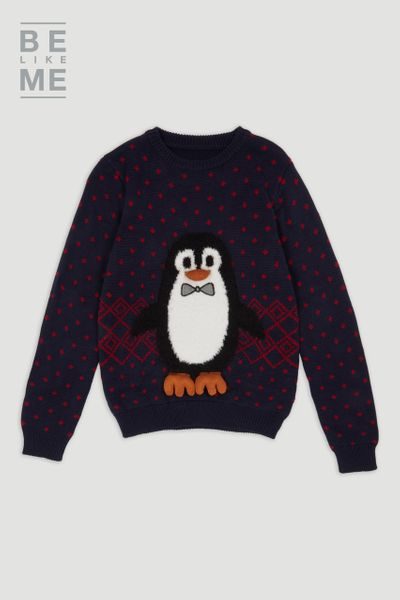 Family Of Blue Christmas Penguin Jumper