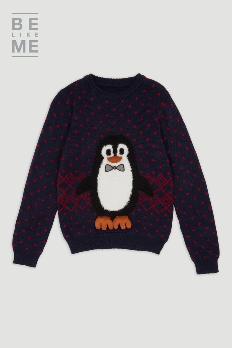 Family Of Blue Christmas Penguin Jumper