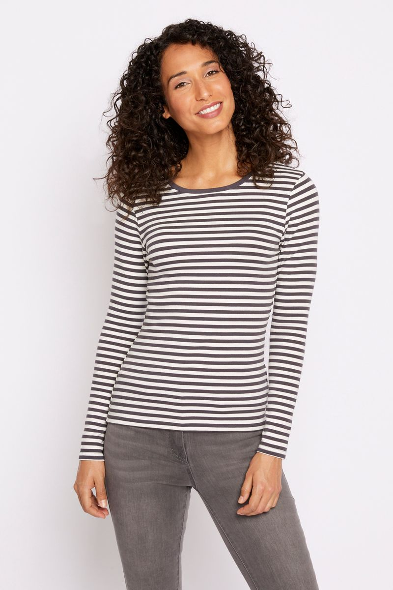 Fitted Long Sleeve Stripe T-shirt