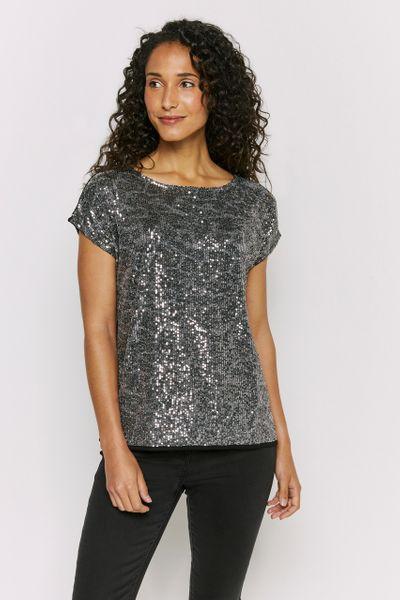 Animal Print Sequin Top