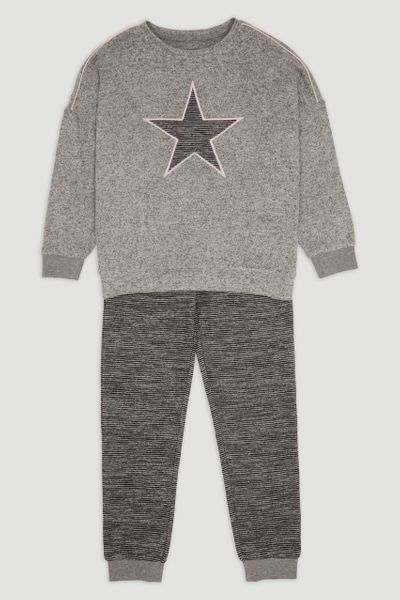 Charcoal Star Stripe Loungewear Set