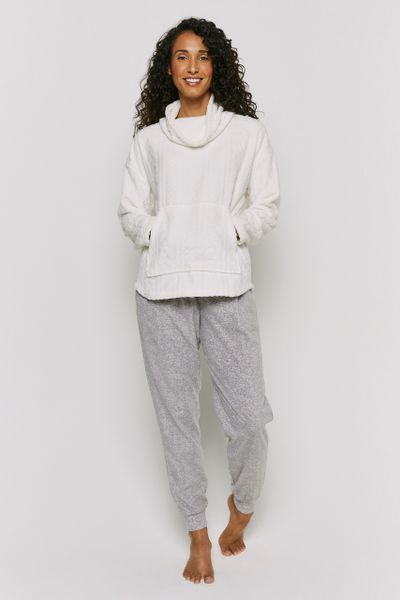 Cream & Grey Fleece Loungewear Set
