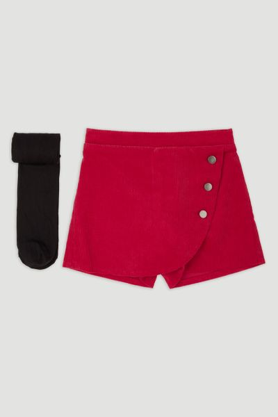 Red Cord Skort & tights