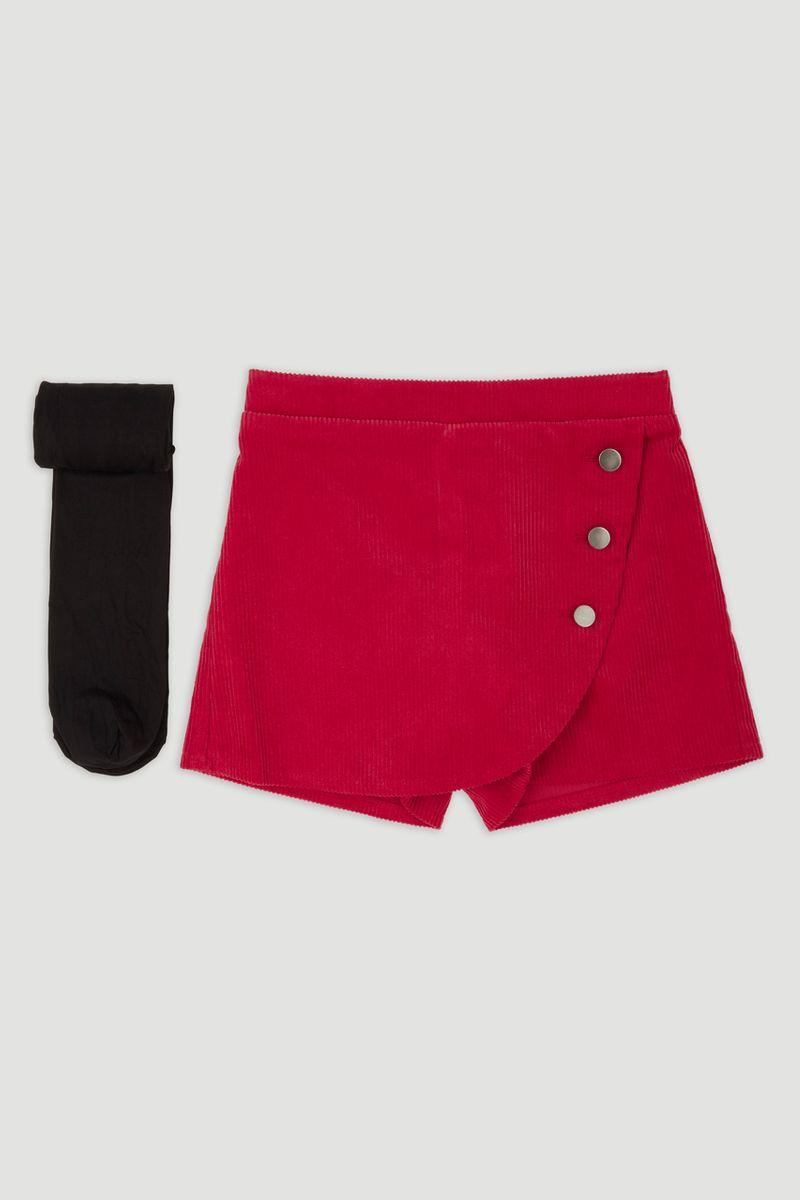 Red Cord Skort & tights